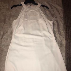 White halter midi dress